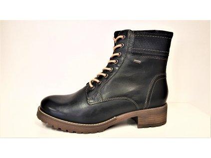 Dámské kožené oteplené tmavě modré zimní sportovní boty / farmářky na nízkém podpatku KLONDIKE 020h19