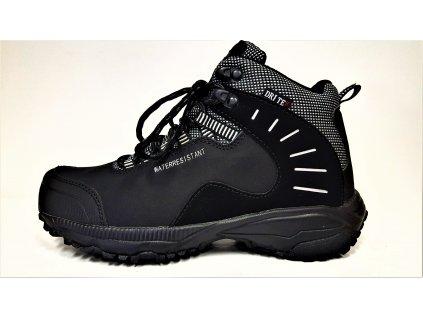 TREKOVÁ trekingová unisex obuv - černé celoroční nepromokavé trekingové softshell kotníkové boty  GRI-TEX MTJL-18-517