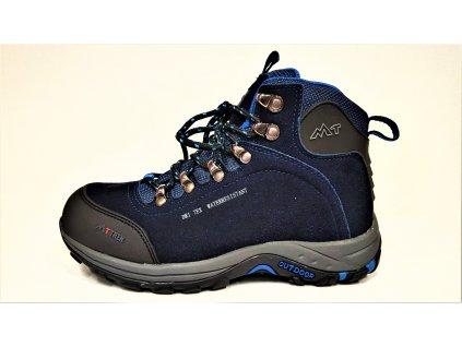 TREKOVÁ trekingová unisex obuv - tmavě modré celoroční nepromokavé kotníkové boty DRI TEX MEMBRÁNA MTJL-18-517