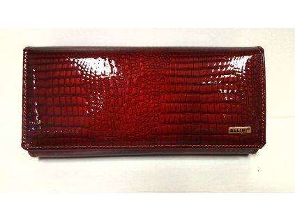 Velká kožená bordo červená lakovaná luxusní dámská peněženka 201