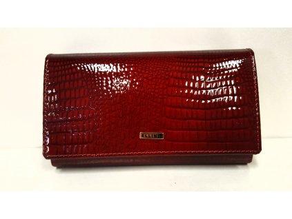 Kožená bordo červená lakovaná luxusní dámská peněženka 205