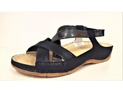 SANDÁLY dámské - Modré kožené páskové letní dámské sandály na klínku anatomická zdravotní stélka STEFANO 2719