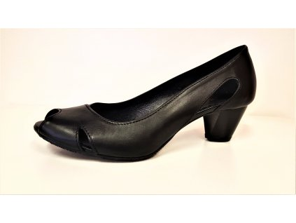 Dámská kožená letní elegantní černá lodička / sandál STEFANO 2618