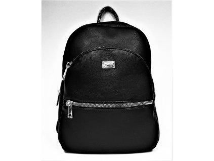 Módní černý koženkový batoh - kabelkaTessra 4275
