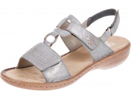 Dámské světle šedé páskové letní sandály na nízkém klínku 910743 RIEKER 60887-40