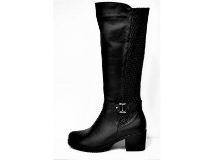 VARIO Kozačky na podpatku - elegantní - Polohovací černé přizpůsobivé vario kožené kozačky na podpatku se zipem JAMI 24718