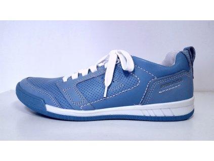 Dámské kožené vycházkové světle modré boty na šněrování s nízkým klínkem PEGADA - SANTE
