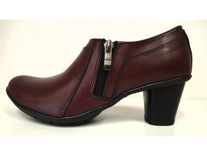 Dámské kožené bordo boty na podpatku Mintaka 32838