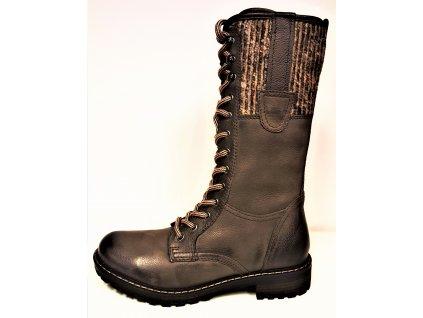 Kozačky se šněrováním - Zimní hnědé kožené boty farmářky se šněrováním, teplou podšívkou  a zipem KLONDIKE 022H29+337