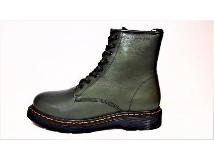 Dámské Kožené oteplené tmavě zelené zimní sportovní boty / farmářky na nízkém podpatku a teplou podšívkou  KLONDIKE 294H02+401