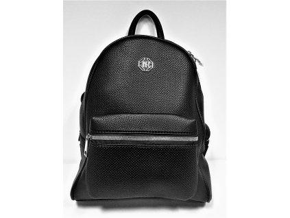 Módní černý koženkový batoh - kabelkaTessra