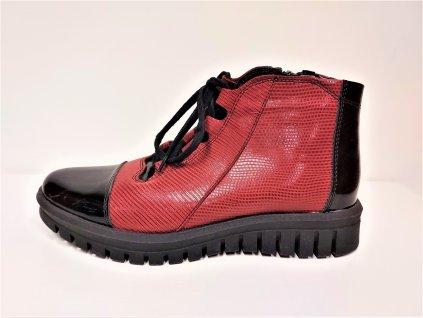 Dámské kožené mírně zateplené bordo/lak kotníkové boty na nízkém podpatku HUJO J3876