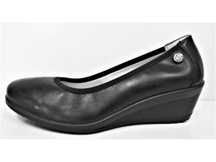 Dámská černá kožená zdravotně tvarovaná balerína GRUNA JL6-U1835.61