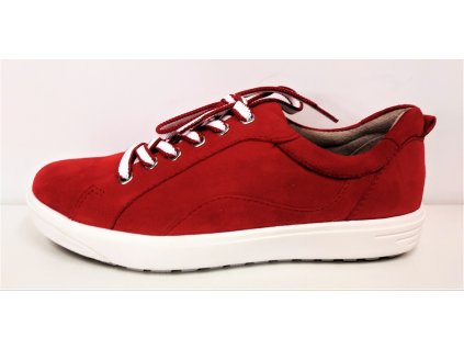 Dámské Semišové Kožené červené polobotky na klínku Sneakers JANA 8-23601-24 529