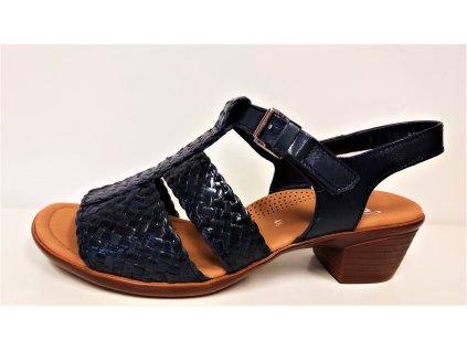 Dámské Kožené tmavě modré anatomicky tvarované sandály na nízkém podpatku ARA sleva 12-35725-02 stélka šíře H