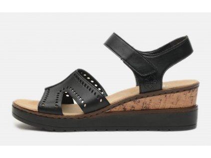 Dámské Kožené letní sandály na klínku RIEKER V38C6-00 KOLEKCE 2021