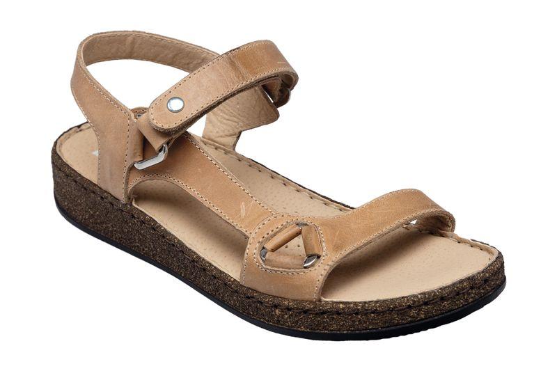 Dámské kožené páskové sandály béžové zdravotní obuv na klínku SANTÉ CAMEL  35871 Tabulka velikostí-dámské 5b4c8d0ad5