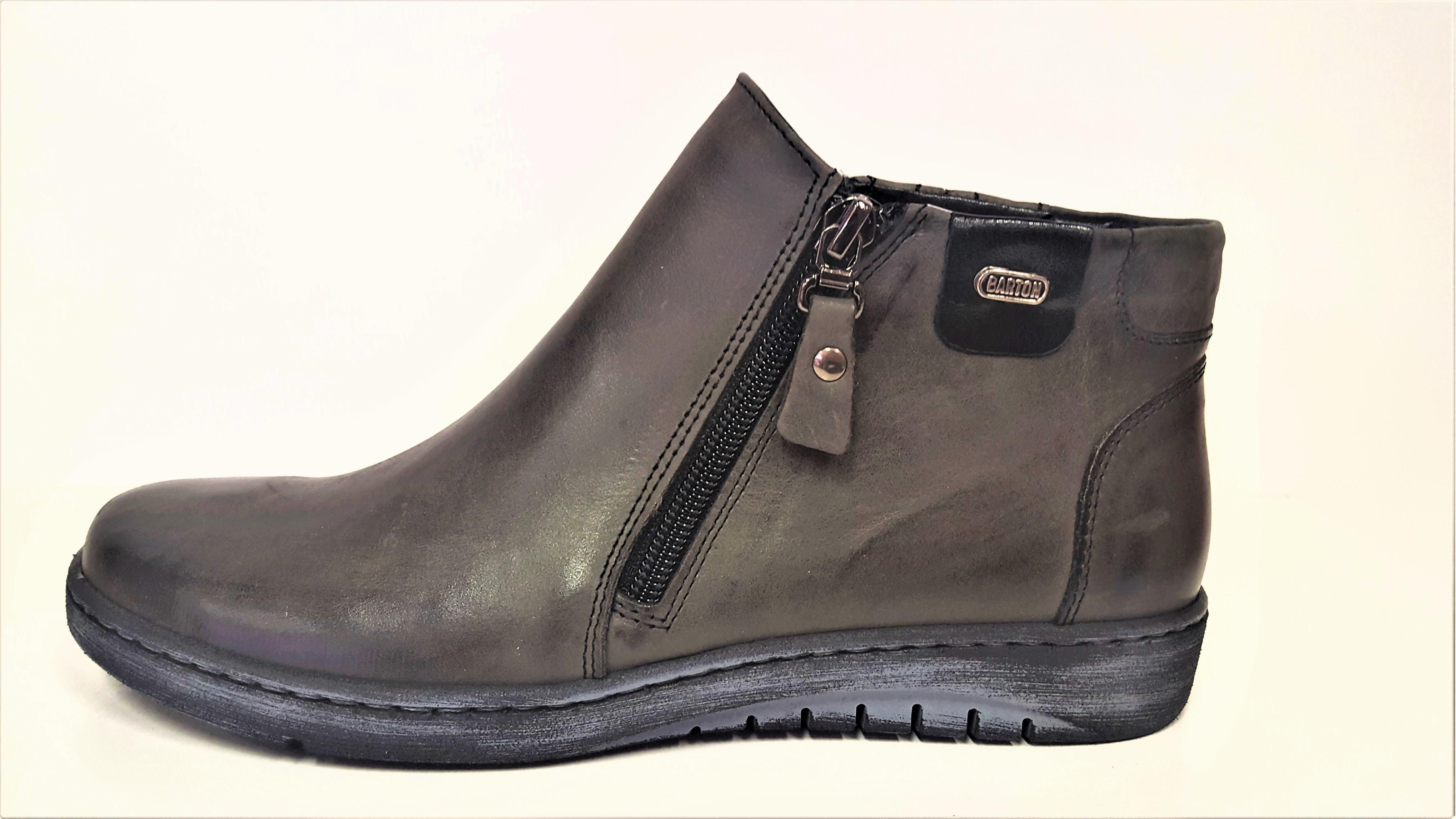 KOŽENÁ KOTNÍKOVÁ OBUV - Dámské kožené tmavě šedé kotníkové boty na klínu  dva zipy JAMI 24318 5525ddd1427