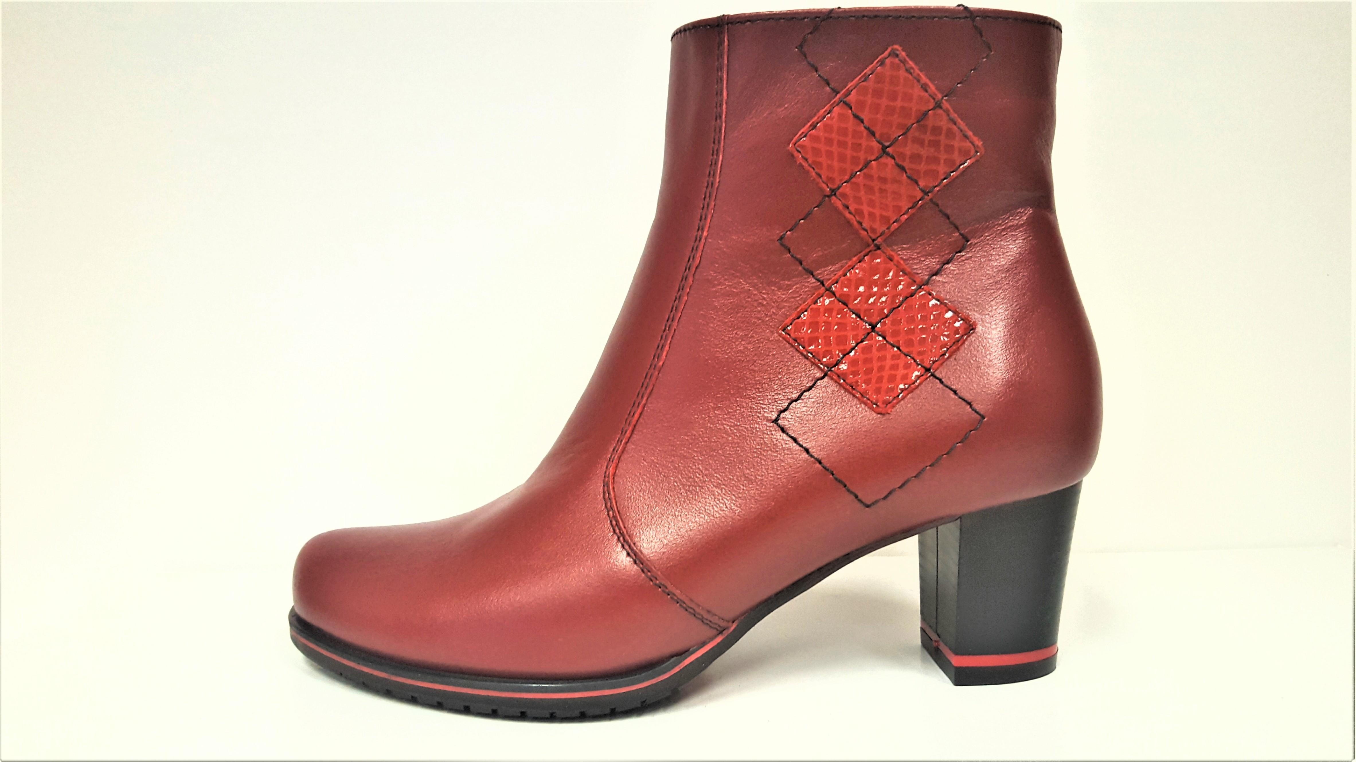 Kotníkové boty na podpatku - Dámské bordó vínové červené kožené kotníkové  elegantní kozačky JAMI 22419 Tabulka f2f169f667