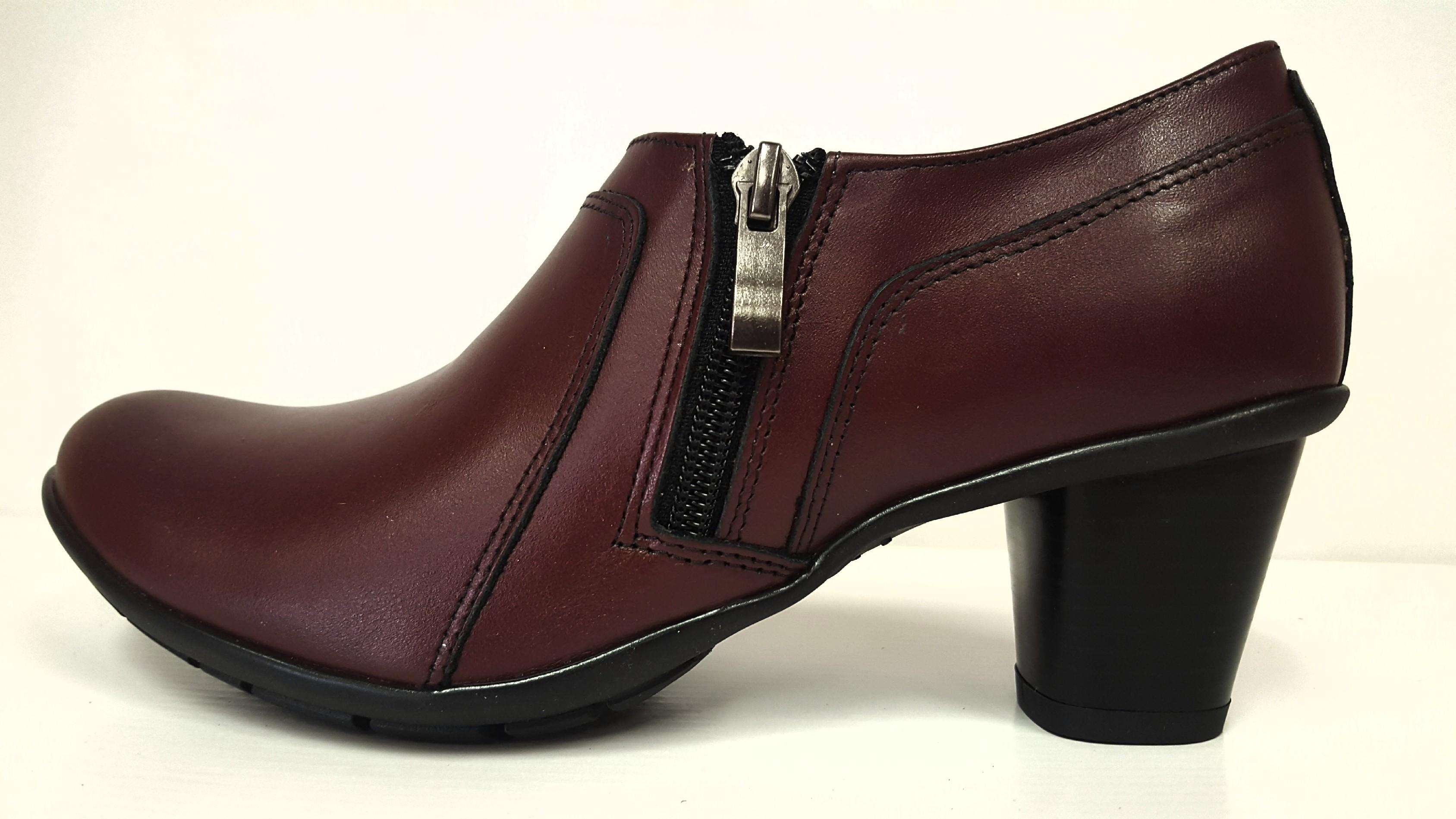 69cc0258b Dámské kožené bordo boty na podpatku Mintaka 32838 Tabulka dámských  velikostí: 40