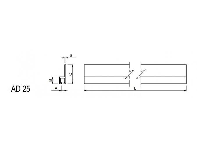 Lišta pro fixaci kartáče - uchycení horní CS.AD25