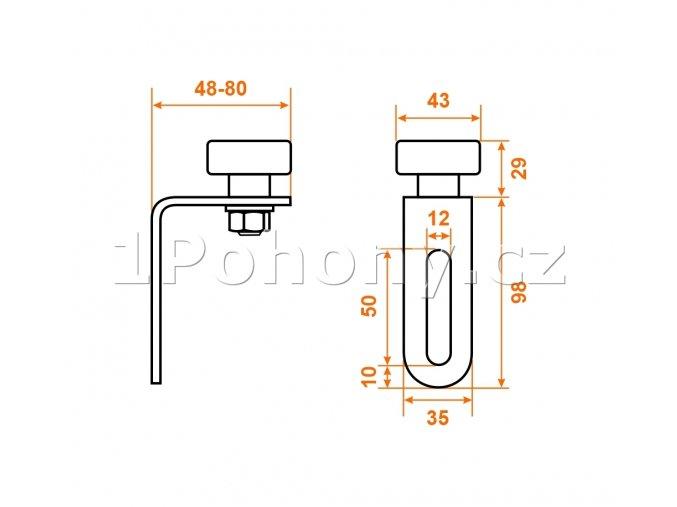 VRL.43 horní vodící rolna s ložiskem pro posuvné brány, Ø 43 mm