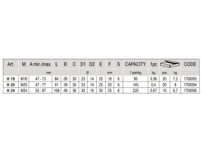 CS.H20 seřiditelné panty na vrata, upevnění svarem, M20