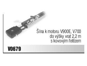 Šína k motoru V900E, V700 do výšky vrat 2,2 m s kovovým řetězem