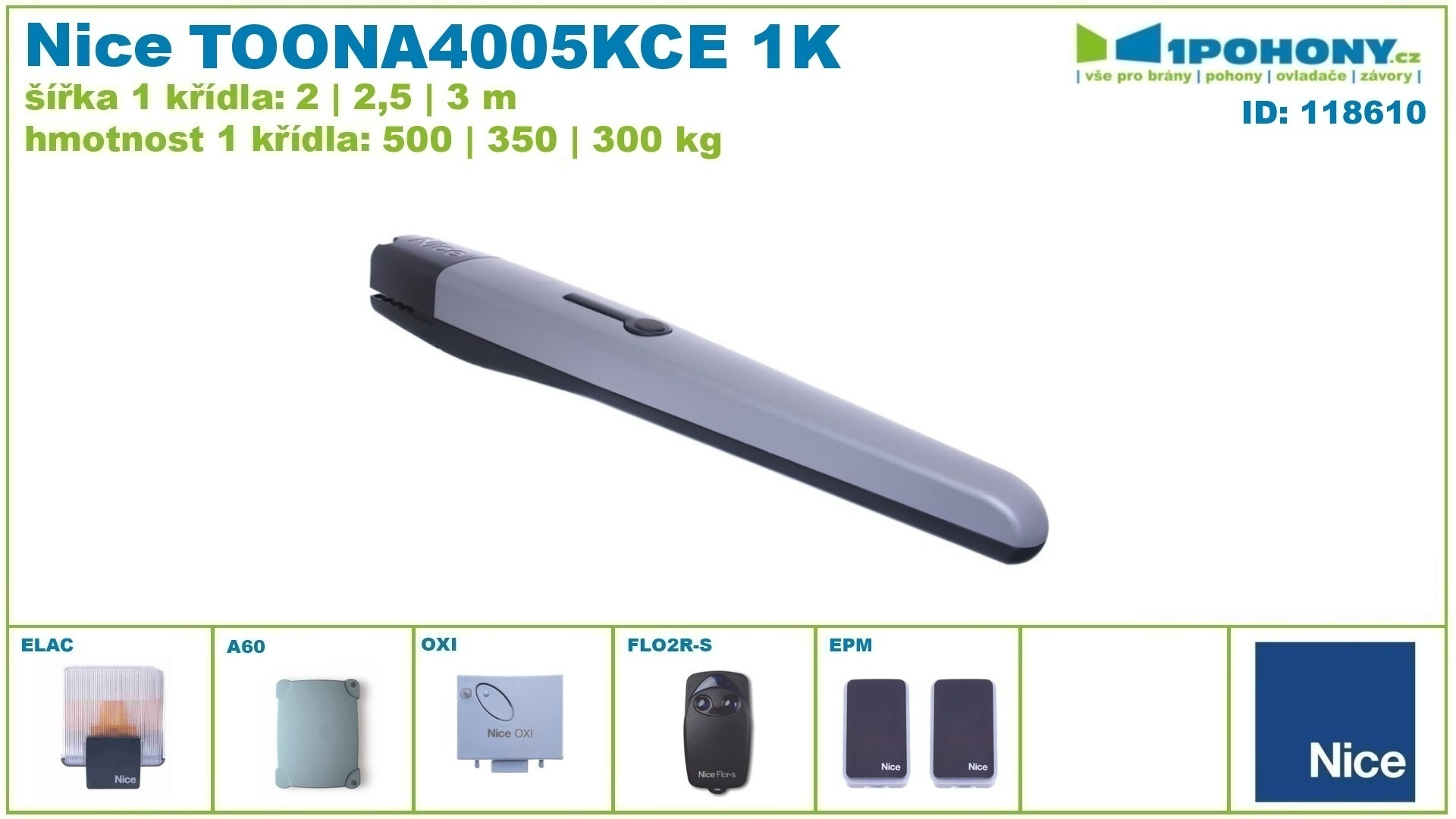 Nice TOONA4005KCE sada pohonů křídlových bran do 3m Toona Kit, Toona4005 kce