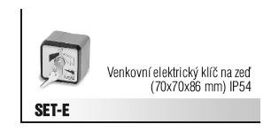 Venkovní klíč elektrický na zeď