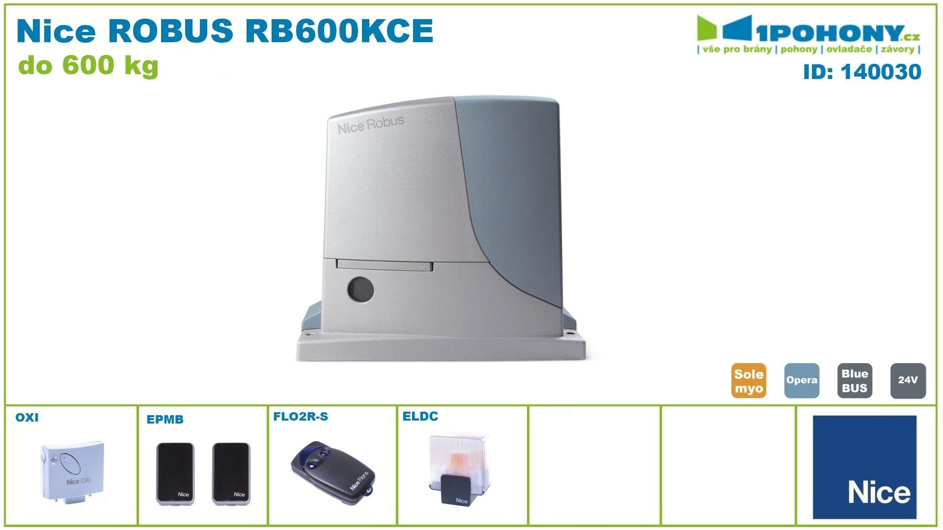 RB600KCE - kompletní sada ROBUSKIT600 - pohon pro posuvnou bránu Nice Robus 600