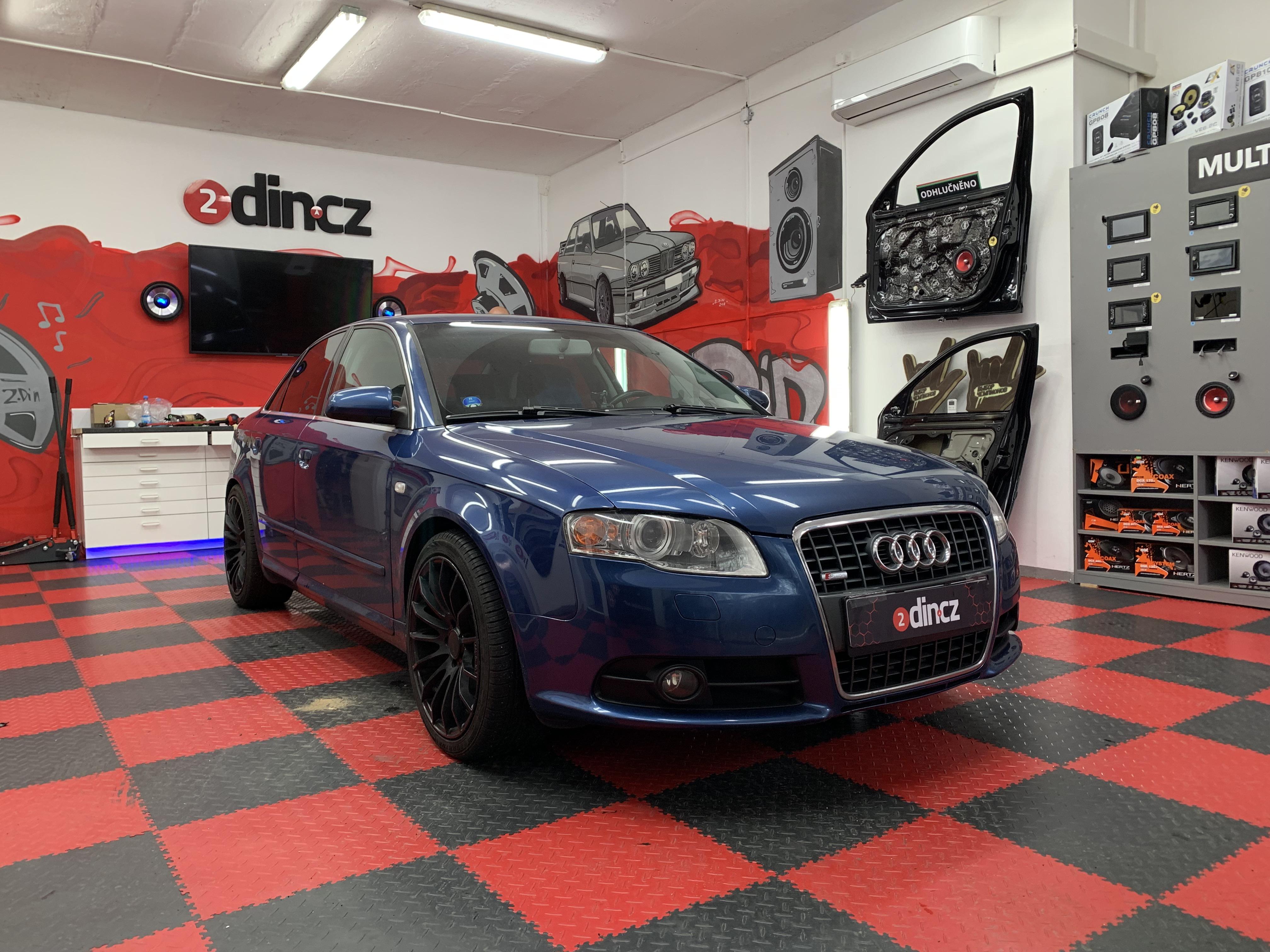 Audi A4 - Montáž 1din autorádia a ozvučení dveří