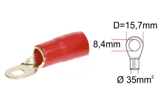 Kabelová oko zlaté pro kabel 35mm2 rudá izolace