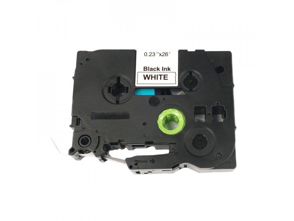 Páska pro popisovače BROTHER - typ TZE-S211 - 6 mm bílá - černý tisk - extrémně lepivá páska - kompatibilní