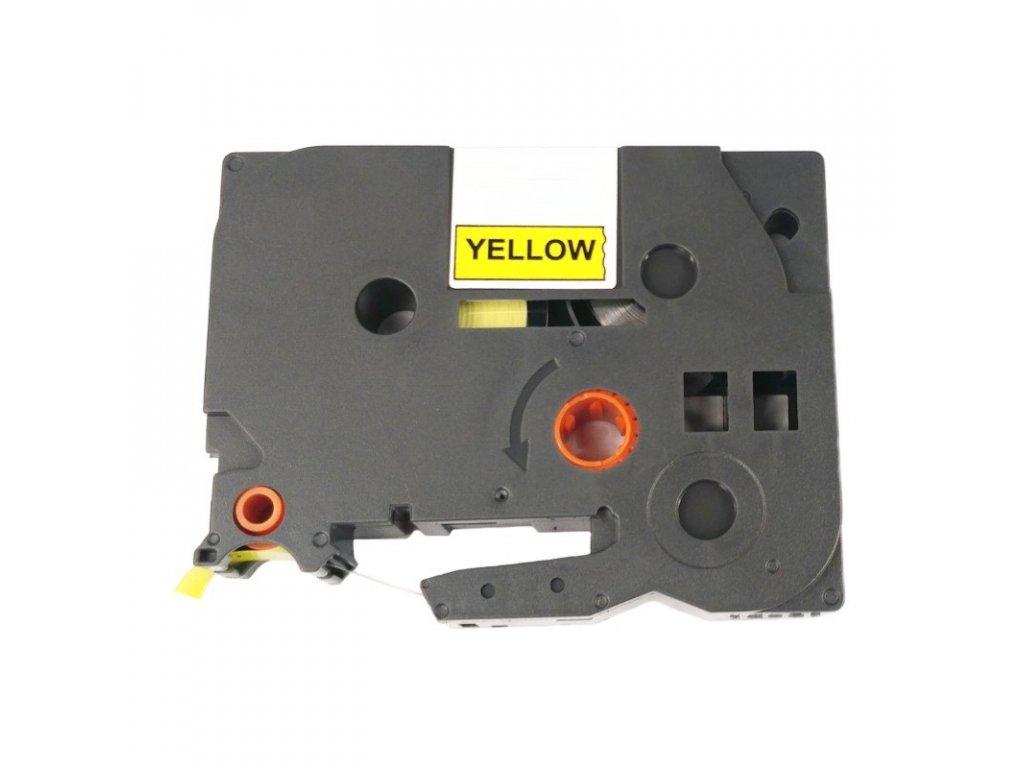 Páska pro popisovače BROTHER - typ TZE-651 - 24 mm žlutá - černý tisk - kompatibilní