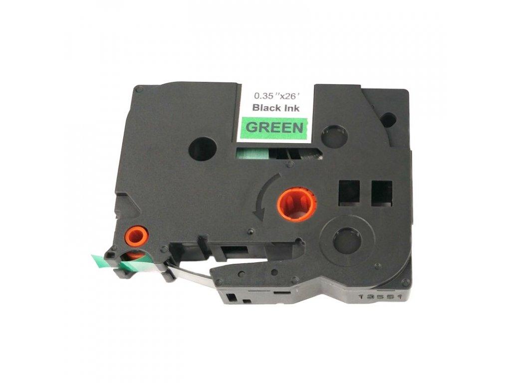 Páska pro popisovače BROTHER - typ TZE-721 - 9 mm zelená - černý tisk - kompatibilní