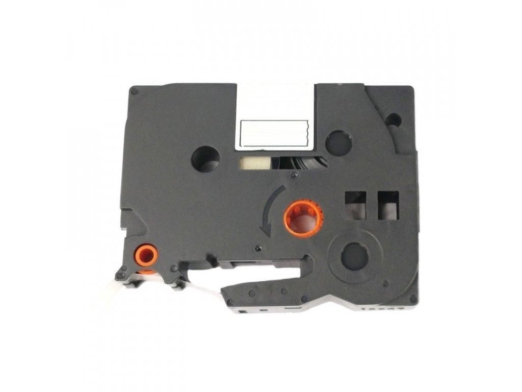 Páska pro popisovače BROTHER - typ TZE-SE4 - 18 mm bílá - černý tisk - plombovací páska - kompatibilní