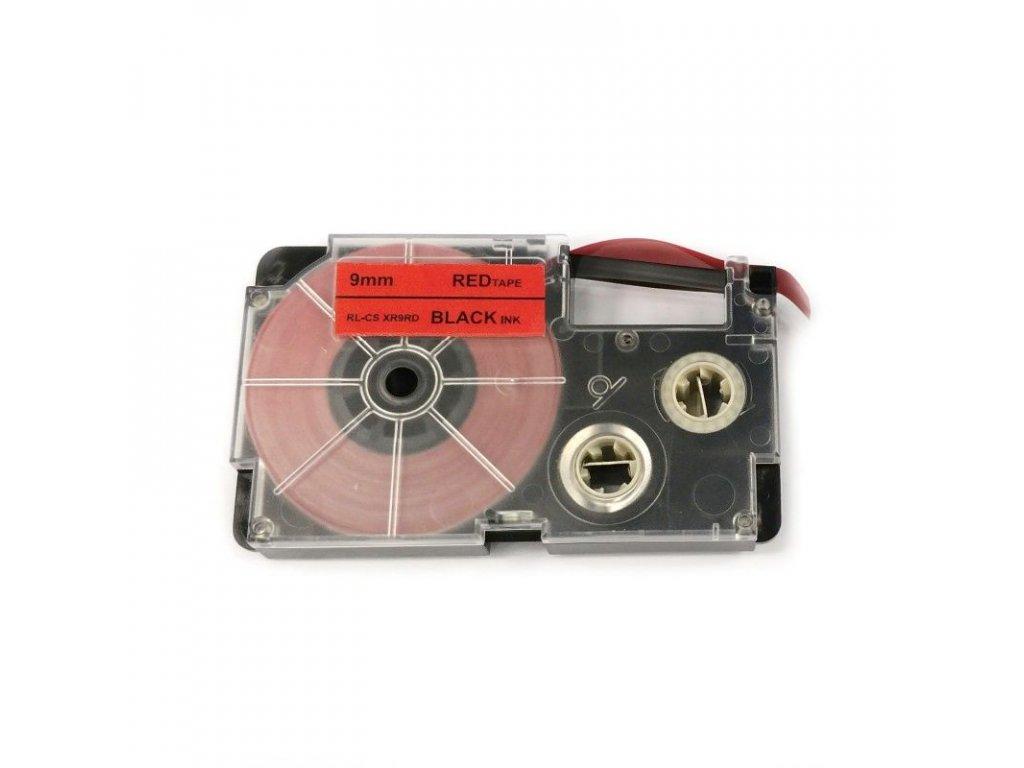 Páska pro popisovače CASIO - typ XR-9RD - 9 mm červená - černý tisk - kompatibilní