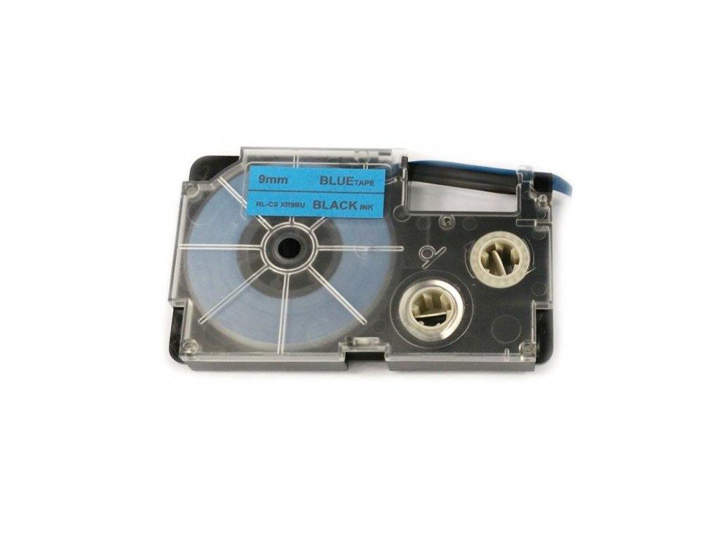 Páska pro popisovače CASIO - typ XR-9BU - 9 mm modrá - černý tisk - kompatibilní
