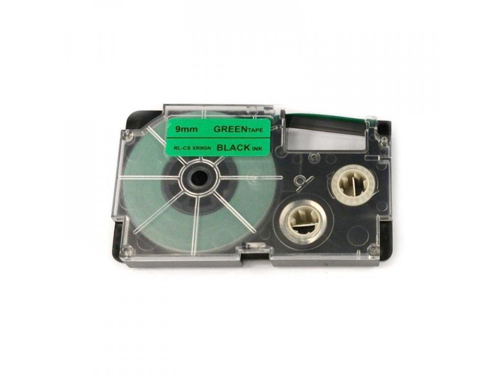 Páska pro popisovače CASIO - typ XR-9GN - 9 mm zelená - černý tisk - kompatibilní