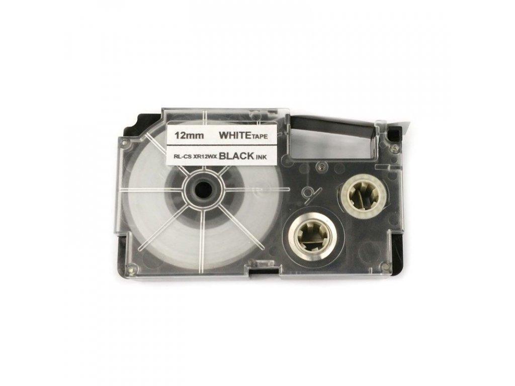 Páska pro popisovače CASIO XR-12WE - 12 mm bílá - černý tisk - kompatibilní
