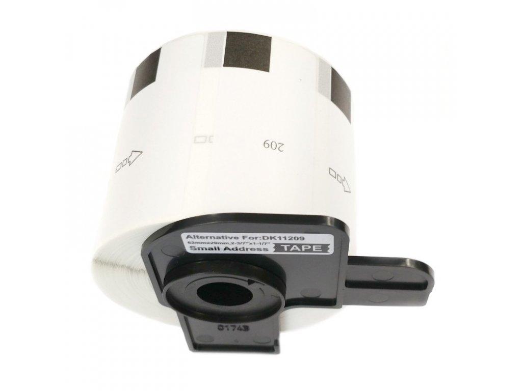 Etikety / štítky pro tiskárny BROTHER QL - typ DK-11209 - kompatibilní - 62 mm x 29 mm - 800 kusů, bílá (úzké adresní štítky)
