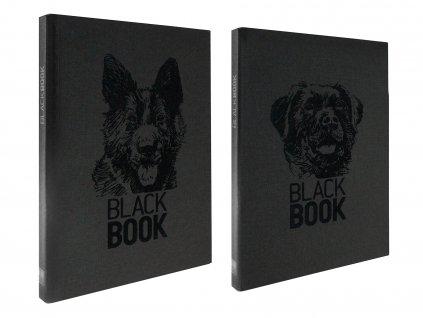 Zápisník A4 BLACK BOOK DOGS černý