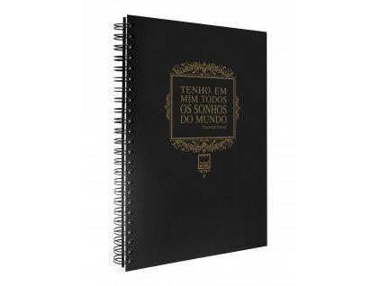 Zápisník A5 METALLIC zlatý, text Pessoa