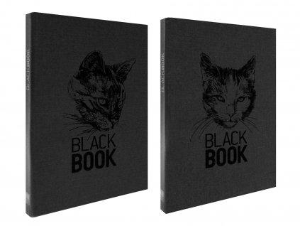 Zápisník A6 BLACK BOOK CATS černý (2ks)