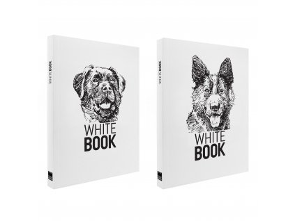 Zápisník A6 WHITE BOOK DOGS bílý (2ks)