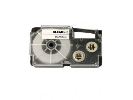 Páska - CASIO XR-12X1 - 12 mm průhledná - černý tisk - kompatibilní