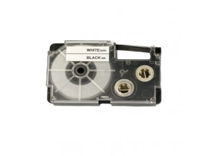 Páska - CASIO XR-18WE1 - 18mm bílá - černý tisk - kompatibilní