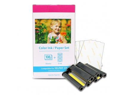 Fotopapír KP-108IN, 3115B001 pro tiskárny CANON Selhpy (10x15 cm, 108 ks) + tisková páska  - kompatibilní