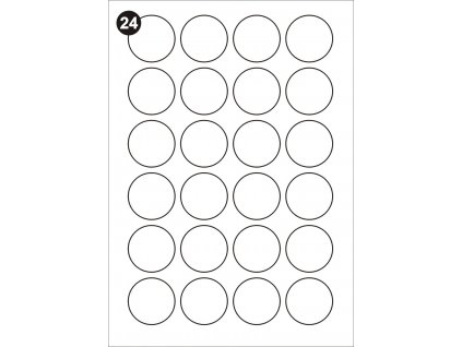 Samolepící etikety kulaté 40 mm, A4 - bílé  (balení 100 listů)